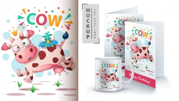 Cow and Bird - Mockup for Your Idea - Animals Characters