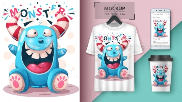 Crazy Monster - Mockup for Your Idea - Animals Characters