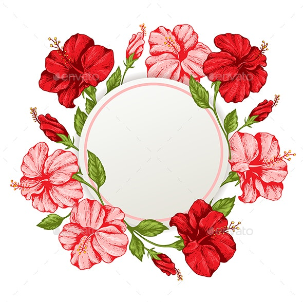 Tropical Floral Frame with Pink and Red Flowers - Flowers & Plants Nature