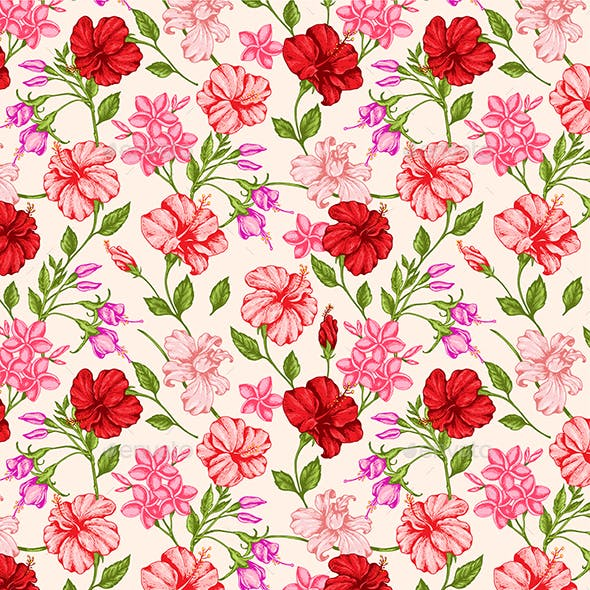 Tropical Pattern with Red and Pink Flowers