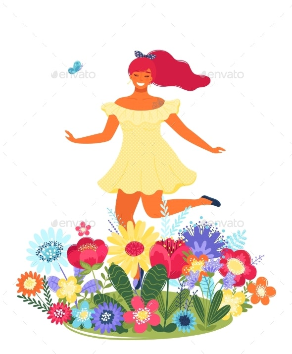 Vector Template With Happy Woman And Flowers By Allaya Graphicriver