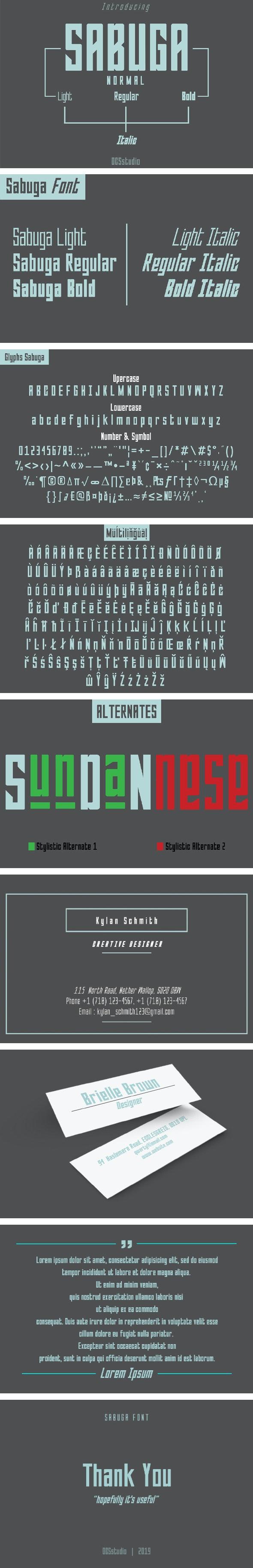 Sabuga Font - Condensed Sans-Serif