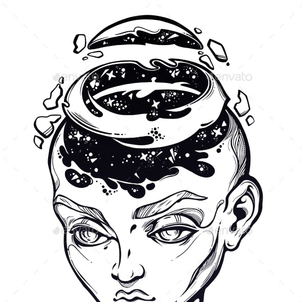 Portriat of the Surreal Human Girl with a Open Head