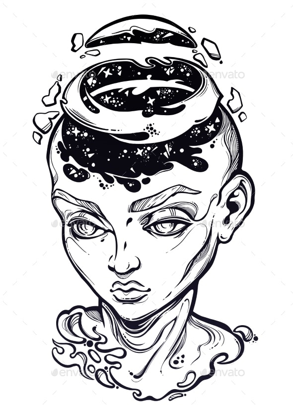 Portriat of the Surreal Human Girl with a Open Head - People Characters
