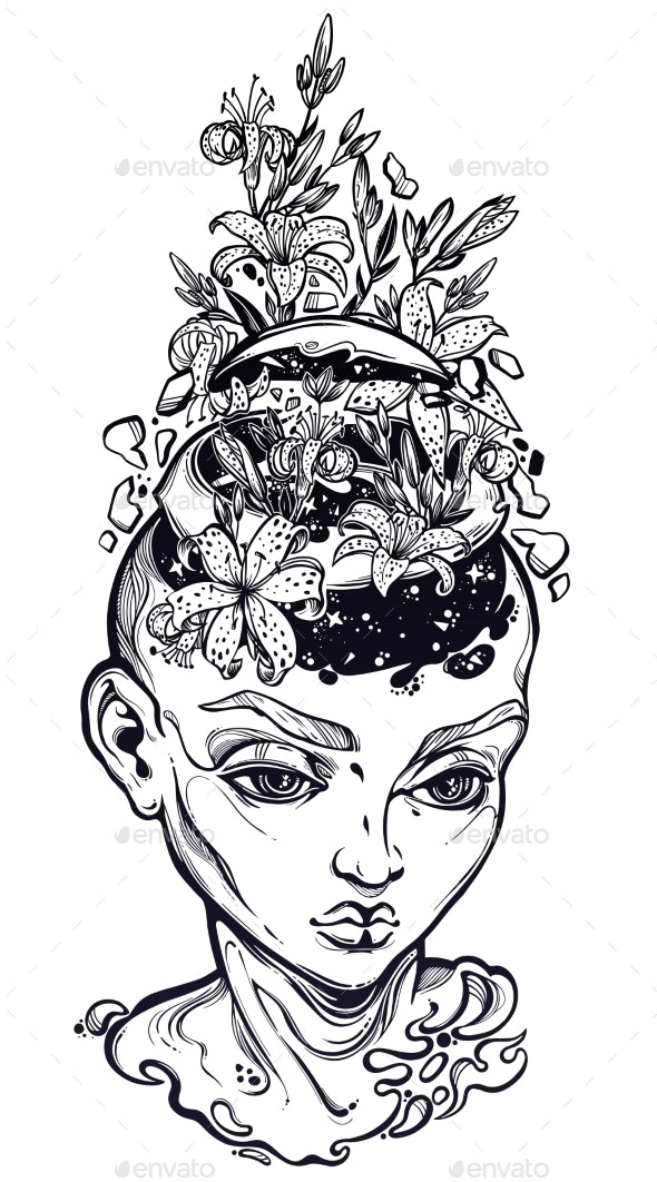 Portriat of the Surreal Human with a Head Open - People Characters