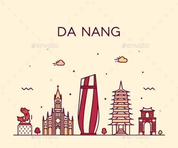 Da Nang Skyline Vietnam Trendy Vector Linear Style - Buildings Objects