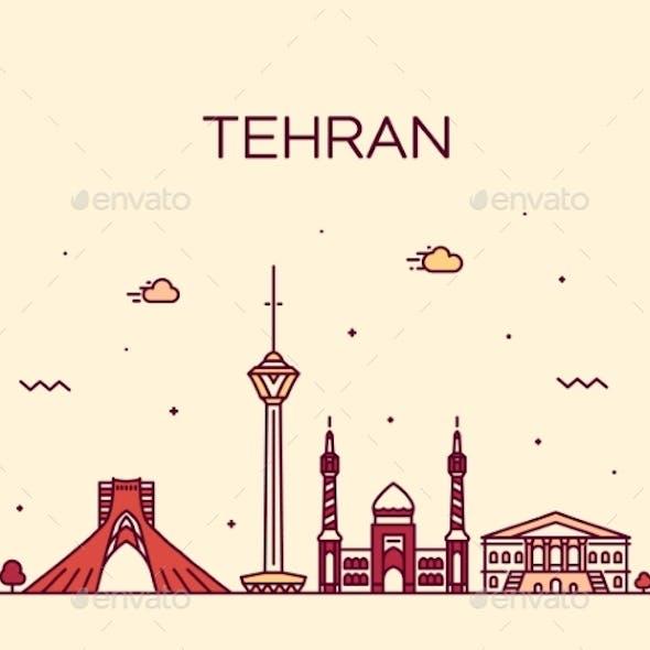 Tehran Skyline Iran Trendy Vector Linear Style
