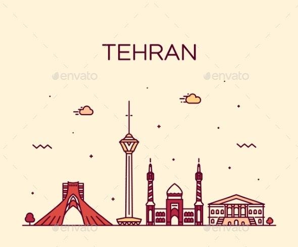 Tehran Skyline Iran Trendy Vector Linear Style - Buildings Objects