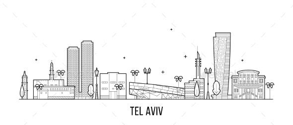 Tel Aviv Skyline Israel Buildings Vector Linear - Buildings Objects