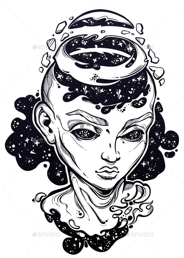 Portriat of the Futuristic Girl with a Head Open - People Characters