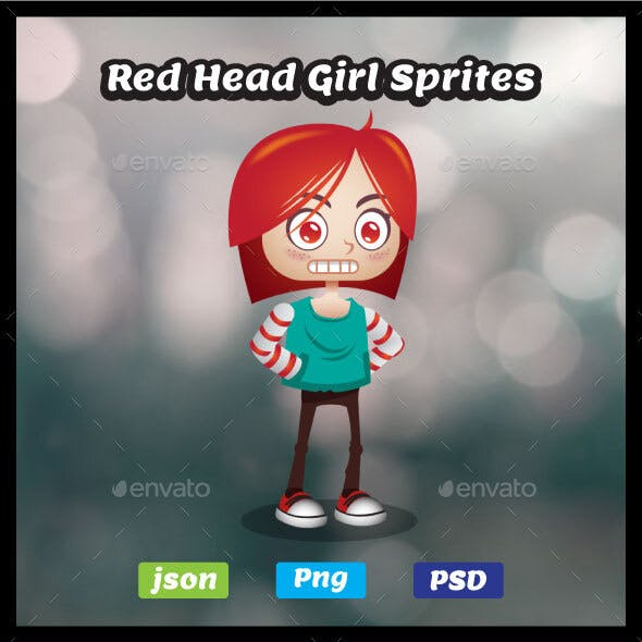 Red Head Girl Sprites - 2D Character Game Asset