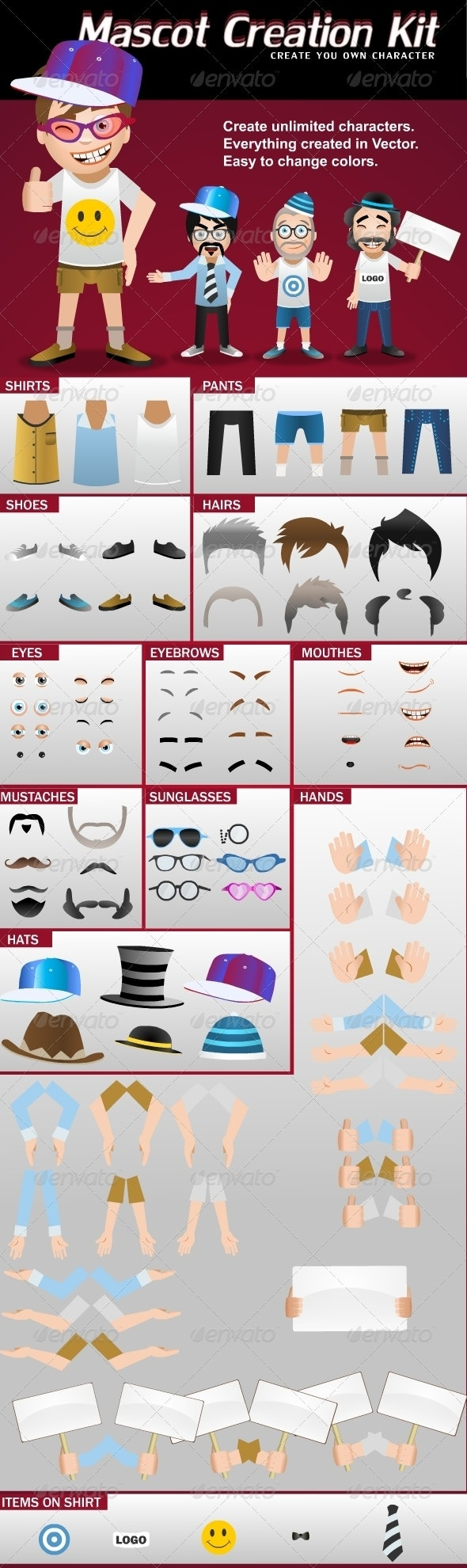 Mascot Creation Kit - Characters Vectors