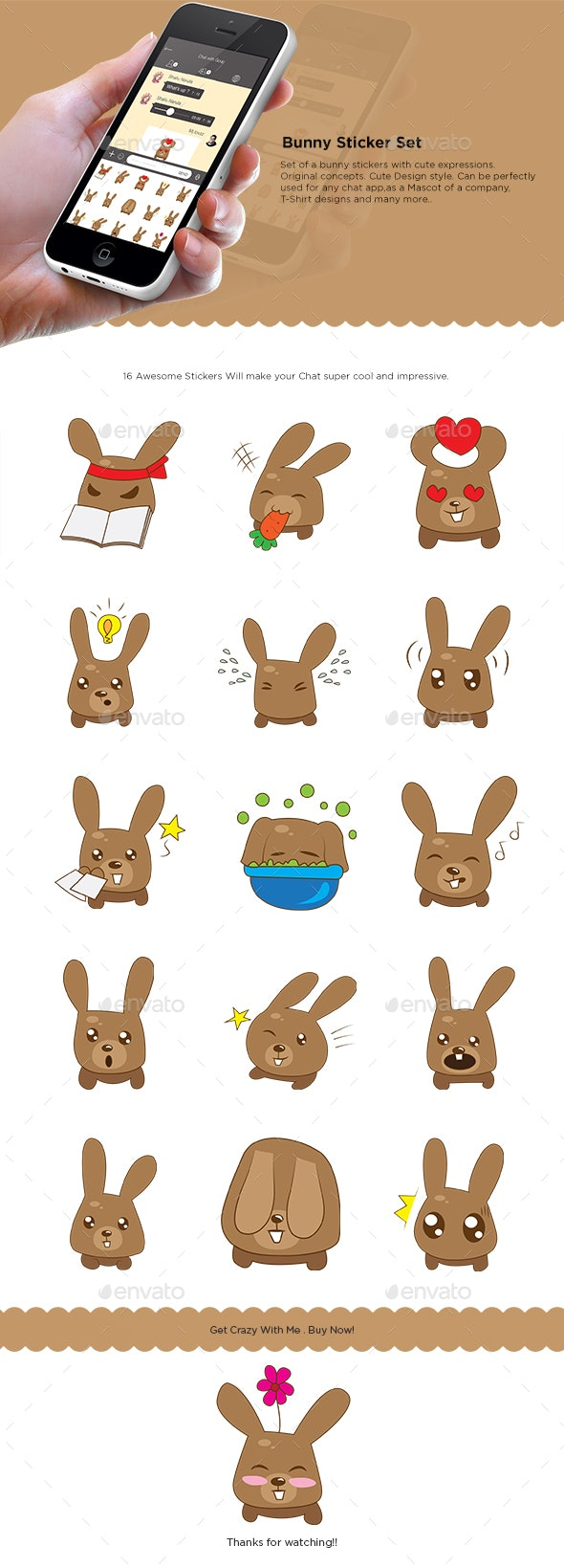 Bunny Sticker Set - Animals Characters