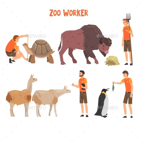 Zoo Workers or Veterinarians Examining and Feeding - Animals Characters