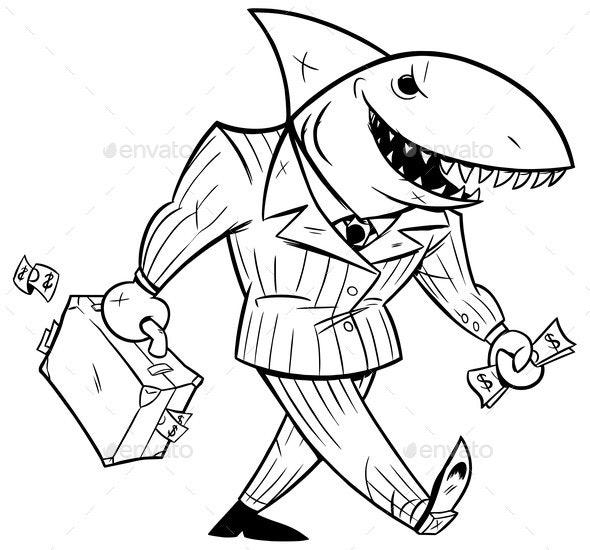 Business Shark Line Art - Animals Characters