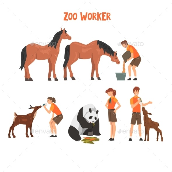 Zoo Workers Feeding and Caring of Animals - Animals Characters
