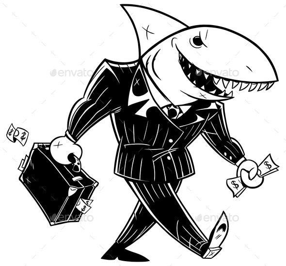 Business Shark Dark Suit Line Art - Concepts Business