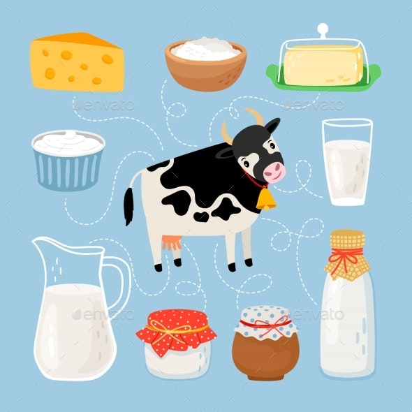 Cow and Dairy Products - Animals Characters