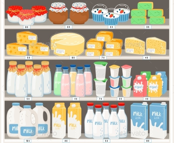 Dairy Products in Supermarket - Food Objects