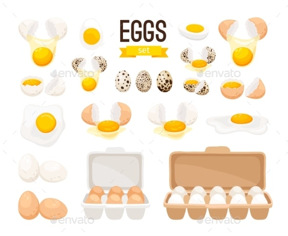 Fresh and Boiled Eggs - Food Objects