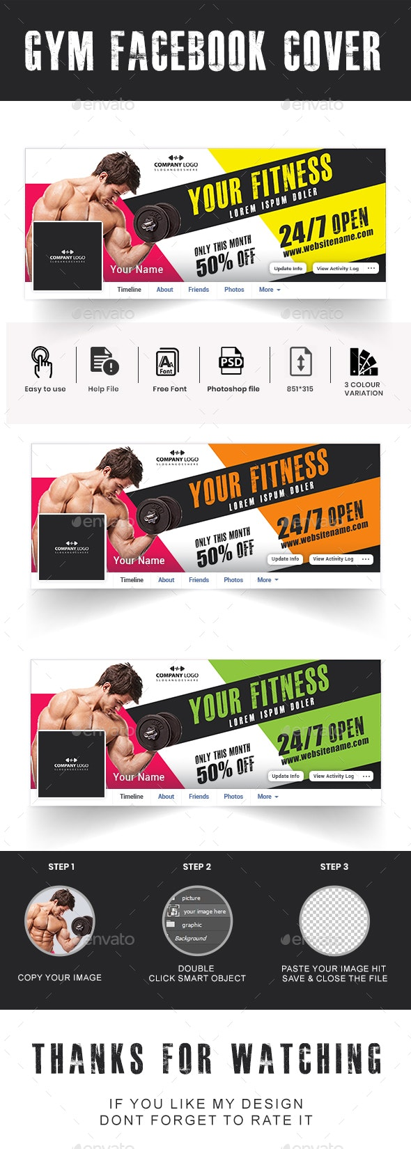 Gym Facebook Cover - Social Media Web Elements