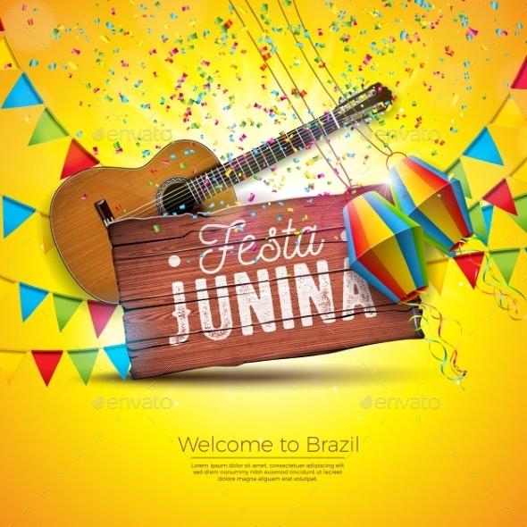 Festa Junina Illustration with Acoustic Guitar - Miscellaneous Seasons/Holidays