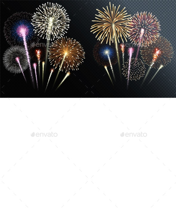Two Groups of Isolated Fireworks - Miscellaneous Seasons/Holidays