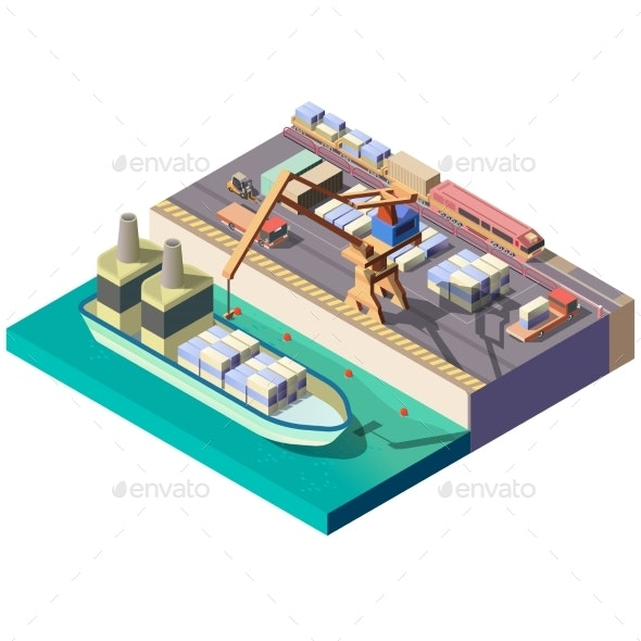 City Cargo Port Isometric Vector Map Section - Industries Business