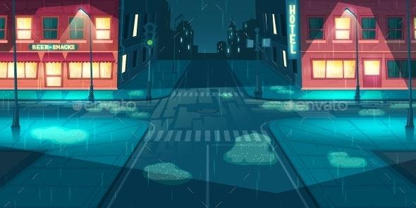 Rainfall on City Street Cartoon Vector - Buildings Objects