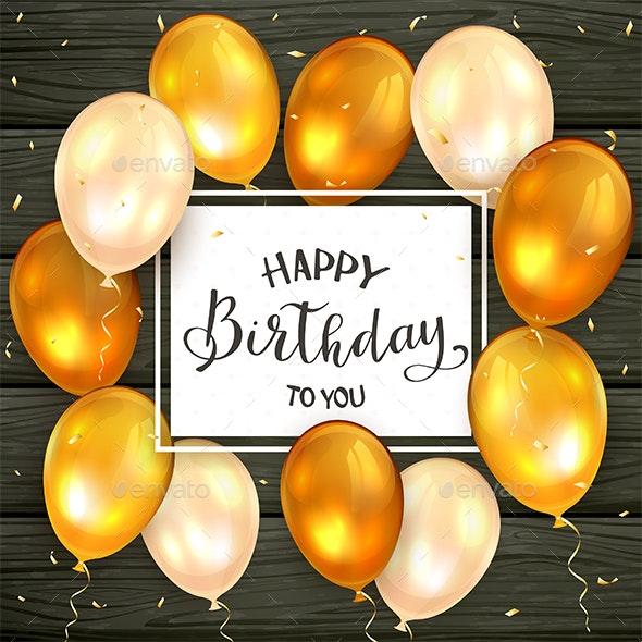 Golden Balloons and Lettering Happy Birthday - Birthdays Seasons/Holidays