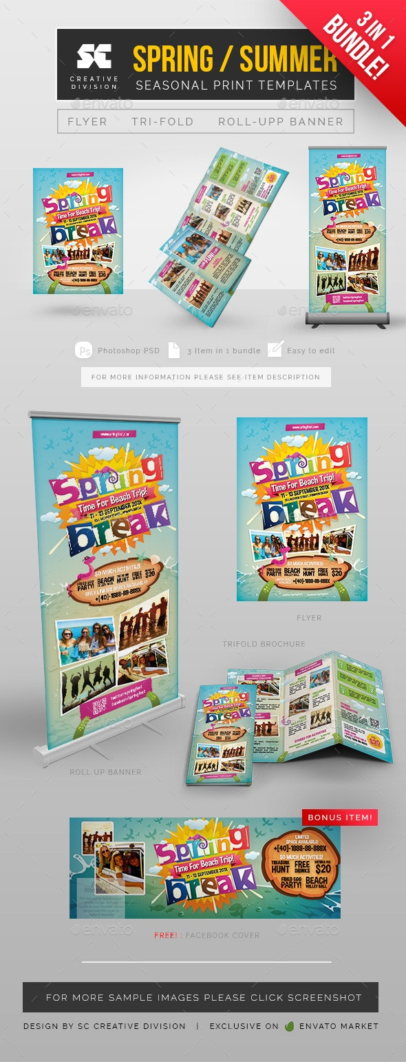 3 + 1 Summer Spring Bundle - Print Templates