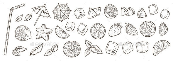 Hand Drawn Cocktail Elements Vector Illustration - Food Objects