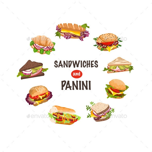 Fresh Sandwiches and Panini Vector Illustration - Food Objects