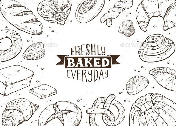 Fresh Bread Poster Vector Ilustration - Food Objects