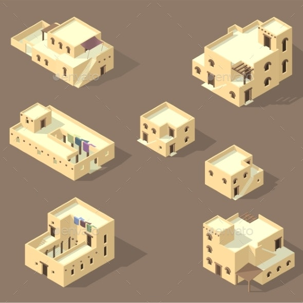 Set Arab House Isolated - Buildings Objects