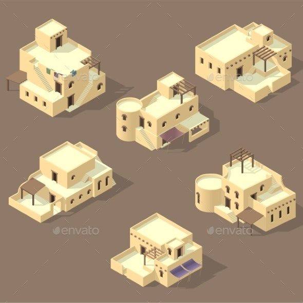 Isometric Arab House Isolated - Buildings Objects
