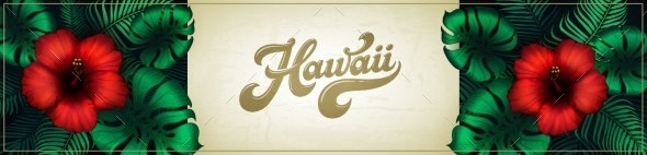 Hawaii Background Design with Tropical Plants - Flowers & Plants Nature