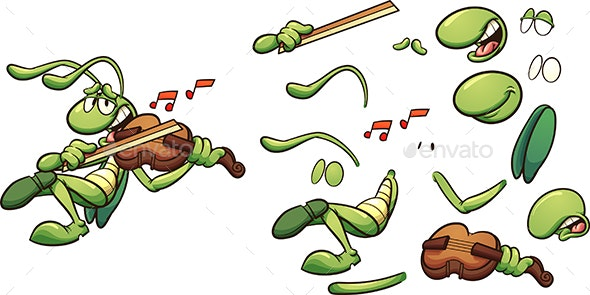 Grasshopper Violin - Animals Characters