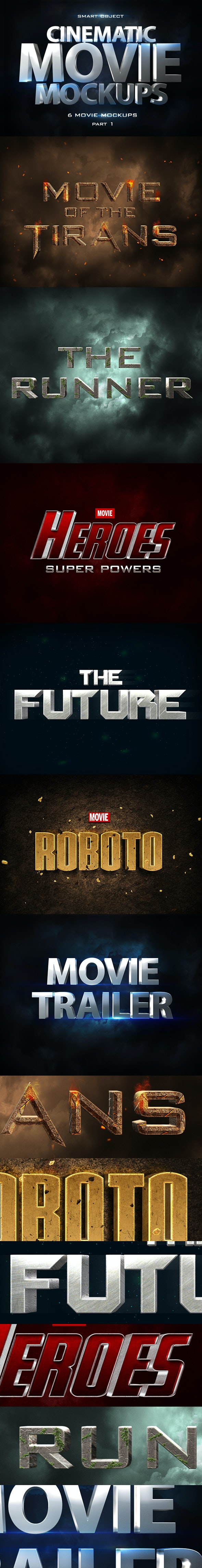 Cinematic 3D Movie Mockups - Text Effects Styles