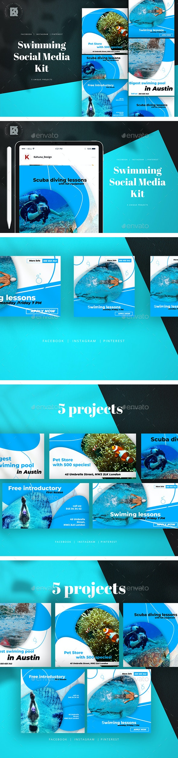 Swimming Social Media Pack - Miscellaneous Social Media
