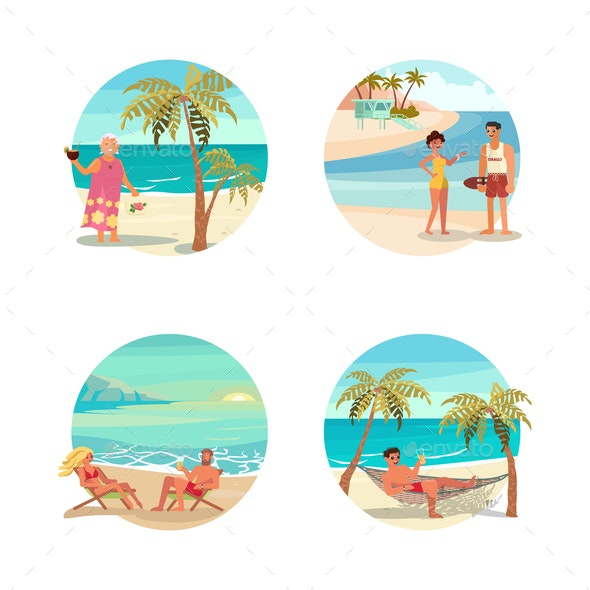 Dream Scene with Beach - People Characters