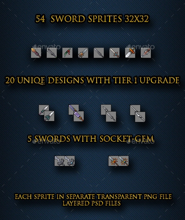 20 Sword Sprites 32x32 with Non-Animated Upgrades - Sprites Game Assets