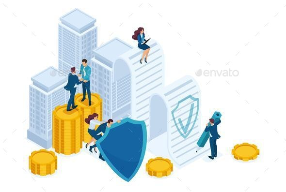 Isometric Businessmen Insure Their Assets - Concepts Business