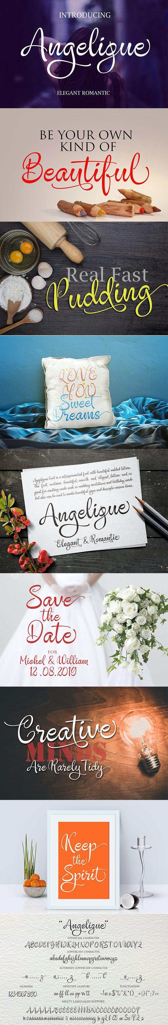 Angelique Handwritten - Script Fonts
