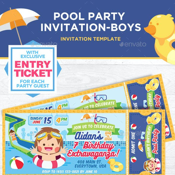 Summer Pool Party Invitation For Boys