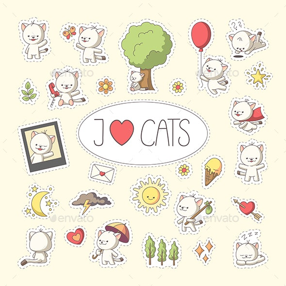 Cat Sticker Set - Animals Characters