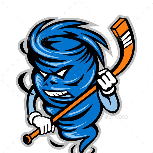 Tornado Ice Hockey Player Mascot
