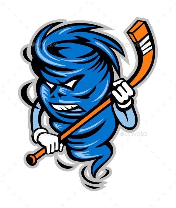 Tornado Ice Hockey Player Mascot - Sports/Activity Conceptual