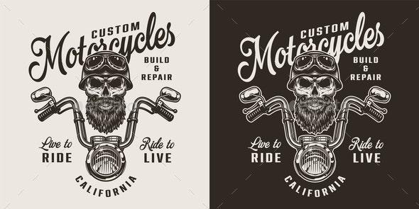 Vintage Custom Motorcycle Print - Miscellaneous Vectors