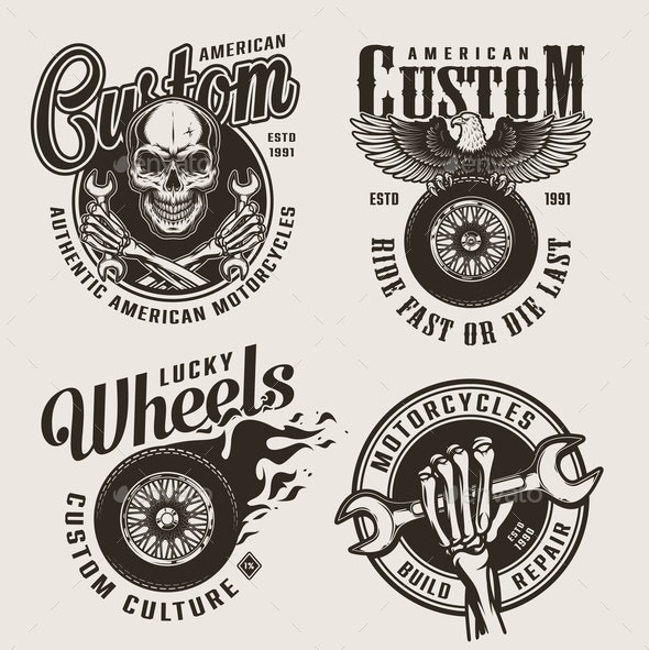 Vintage Monochrome Motorcycle Labels - Miscellaneous Vectors